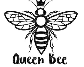 Queen Bee, PNG, dxf, jpg, jpeg, Silhouette Files, Cricut Files, svg files, dxf files, png files, jpg files, decal