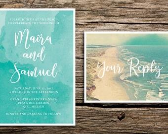 Boho Beach Wedding Invitation Set // Destination Wedding Invitation Teal Beach Wedding Playa California Florida Oregon