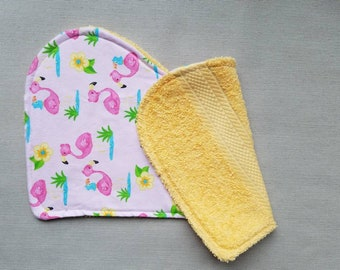 Flamingos Flannel Burp Cloths, Baby Girl, Baby Shower Gift, New Baby