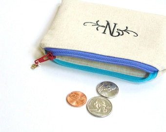 Linen change purse with two toned zipper, personalized custom initial monogram letter embroidered
