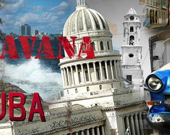 Colorful Wall Art, Digital Art, Printable Poster, Digital Download, Printable Photography, Printable Art,  Photographic Collage, La Habana