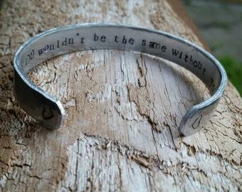 Cuff bracelet.  Hand stamped cuff bracelet.  Hidden message.  Secret Message.  Bridesmaid gift.  Personalized. Hammered finish.