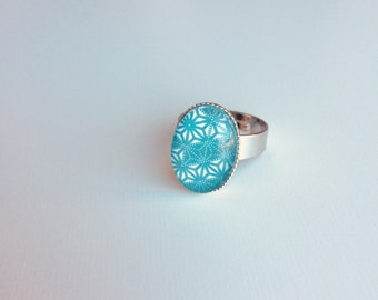 Adjustable silver ring oval cabochon blue green Japanese geometric patterns