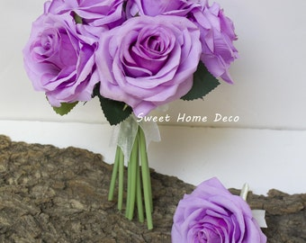 JennysFlowerShop 8''W Silk Rose Wedding Bouquet Bridal Bouquet Bridesmaid Bouquet Boutonniere Colorful Roses Purple/Pink