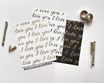 I Love You in Gold Lettering | I Love You in Black Lettering | Hand lettered 8x10 | Bedroom Wall Decorations | Hard Copy Lettering