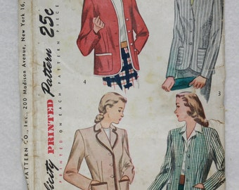 Vintage Classic 40s Jacket Blazer Sewing Pattern Simplicity  1550 Size 14 Bust 32