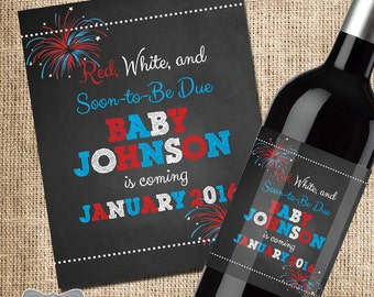 4th of July Pregnancy Announcement, Pregnancy Announcement Wine Label, Pregnancy Announcement Grandparent, Baby Reveal to Family, 4th July