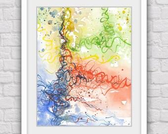 Abstract print, Abstract art, Digital print, Watercolor abstract print, Abstract wall decor, Colorful print, Abstract design