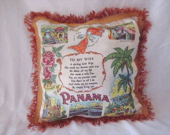 """Souvenir decorative pillow, Panama pillow, gift for wife, gift for her, 18 x 18"""""""
