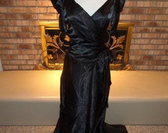 Vintage 80s Black Satin Evening Gown