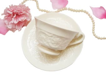 Ornate Wedgwood Patrician Teacup, Ivory White Porcelain Teacup, Made in England, Shabby Chic