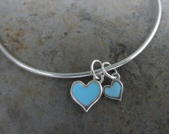 Hearts bangle bracelet - enamel  hearts - choose color - 925 solid sterling silver