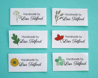 personalized sewing labels, quilt labels, fabric tags, knitting label, sewing label, logo fabric label, floral, flower fabric label, NF9