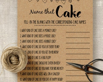 Name that Cake game, bridal shower game, printable rustic shower game, wedding party G101