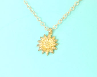 Little Sunflower Necklace, gold/silver/mixed metal option, dainty necklace, gift idea, tiny pendant necklace, lunacielo.etsy.com