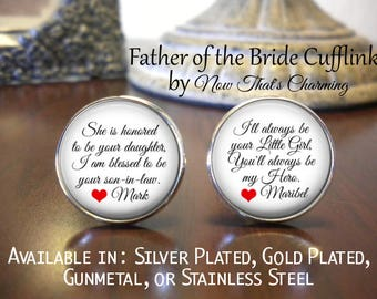 SALE! Father of the Bride Cufflinks - Personalized Cufflinks - Father of the Bride - Father of the Bride Cufflinks- Cyber Monday