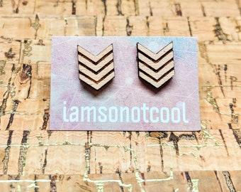 Chevron Earrings / Wood Chevron Stud Earrings / Wood Arrow Earrings / Geometric Earrings / Geometric Studs / Hypoallergenic