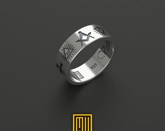 New Edition Civil War Ring with Old Masonic Symbols   Unique Design for Men 925k Sterling Silver