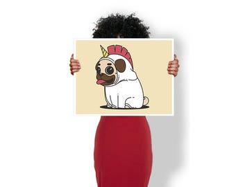 Unicorn Pug Cute Dog - Art Print / Poster / Cool Art - Any Size