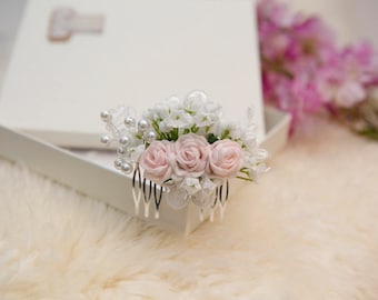 Bridal hair comb Wedding hair accessory Wedding hair comb Flowergirl hair comb Wedding hair slide Bridesmaid hair comb pink flower comb
