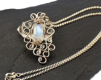 Moonstone Necklace, Bridal Necklace, Sterling Silver Necklace, Moonstone Silver Necklace,  Pendant Necklace, Gemstone Necklace