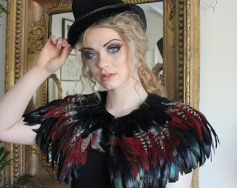 Black and natual and maroon feather shrug, steampunk cape, feathered capulet