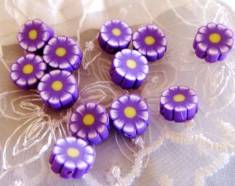 Fimo Polymer Clay Round Flat Beads Colorful Purple Flowers 10mm approx. - 10 pieces