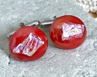 Red Cufflinks - Fused Glass Layers on Silver Tone Fittings - Pearlescent Red with a Crystal Ice Dichroic Layer Gift Boxed