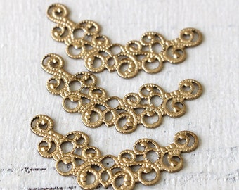 Filigree Brass Findings - Jewelry Making Supplies -  Brass Connectors - 31mm (10 pieces)