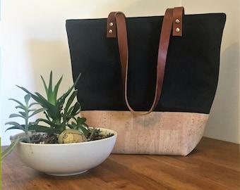 Cork Bag, Cork Tote Bag, Cork Handbag, Black Canvas Tote, Leather Strap Tote, Cork and Canvas Tote, Tote with Pockets, Black Shoulder Bag
