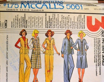 Vintage 1977 Sewing Pattern McCall's 5661 Half Size Shirt, Jacket, Vest,  Skirt and Pants  Sizes 39-43  inches Uncut Complete