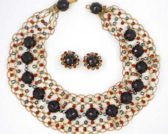 1960s GORGEOUS Maryse Blanchard - Paris Haute Couture Necklace & Earrings Set