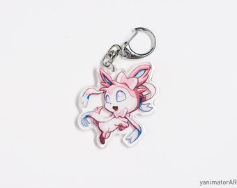 Pokémon Eeveelution Sylveon Acrylic Charm Keychain Double-Sided Nintendo Gamer Gift Pokemon Accessory Glitter Itabag Cute Chibi Kawaii