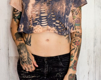 Bleached crop top - Distressed shirt - Custom shirt - Reworked tee - Vintage inspired - Edgy clothing - Shredded Dreams - Small