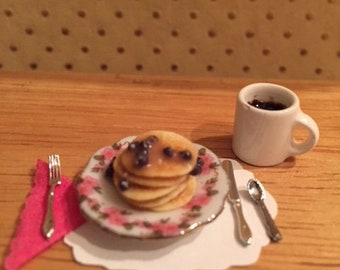 Dollhouse Miniature Blueberry Pancakes