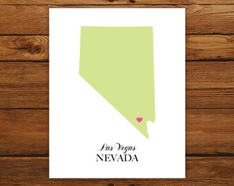 Nevada State Love Map Silhouette 8x10 Print - Customized