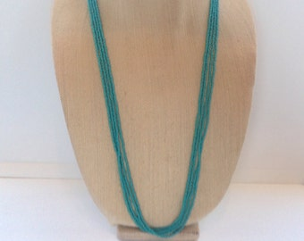 Turquoise, long seed beaded necklace. Turquoise necklace, turquoise beads,multi-strands, turquoise seed beads