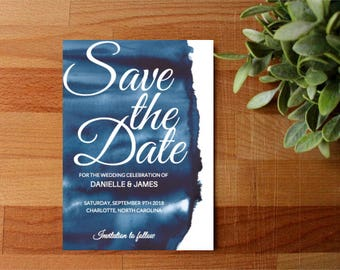 PRINTED Watercolor Save The Date, Blue Save The Dare, Beach Save The Date, Save Our date Invitation