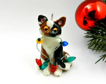 Cat Calico Porcelain Christmas Ornament Figurine Lights