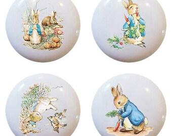 Set of 4 Peter Rabbit Ceramic Knobs Pulls Kitchen Drawer Cabinet Closet