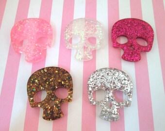 Multicolor Glitter Skull Cabochons, #689