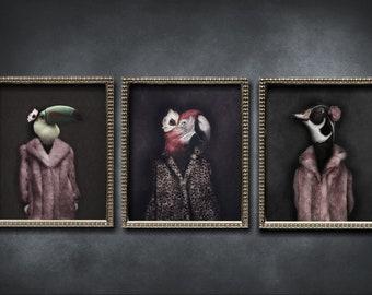 Animal Prints, Quirky Art, Animal Lover Gift, Alternative Art, Dark Art, Weird Art, Dark Decor, Home Decor, Photo Prints, Set Of Prints