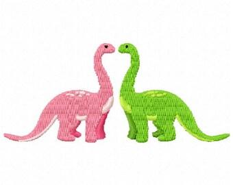 2 Brontosaurus Machine Embroidery Design - Instant Download