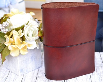 Reduced! A5 Traditional Leather Travelers Notebook Cover: Brown