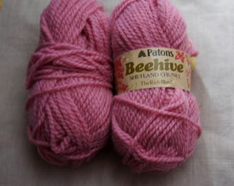 Two 50g Balls Of Patons, Beehive, Pink, Shetland, Chunky, The Rich Blend, Wool Blend, Yarn, Courtelle, Knitting, Crochet, Craft, Supplies