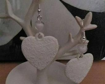 Nordic White Heart Earrings
