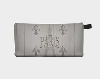 Paris zippered pouch, cosmetic bag, eiffel tower bag, fleur de lys pencil bag by Felicianation Ink