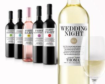 Engagement Gift Champagne Labels Wedding Milestone Wine