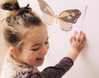 Big Butterfly Nursery Wall Art | Modern Kid's Room Decor
