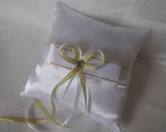 Pillow wedding ring pillow white satin and gold